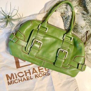 Michael Kors Green Leather Buckle Belt Satchel Bag